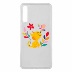 Чехол для Samsung A7 2018 Cat, Flowers and Butterfly