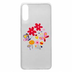 Чехол для Samsung A70 Flowers and Butterflies