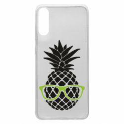 Чехол для Samsung A70 Pineapple with glasses