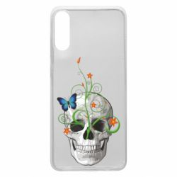 Чехол для Samsung A70 Skull and green flower