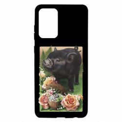 Чехол для Samsung A72 5G Black pig and flowers