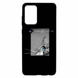 Чохол для Samsung A72 5G Butterfly and cat with blur effect