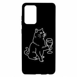 Чохол для Samsung A72 5G Cat with a glass of wine