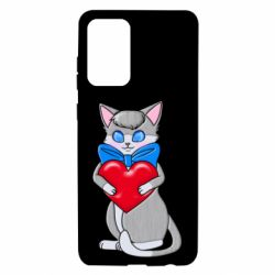 Чехол для Samsung A72 5G Cute kitten with a heart in its paws