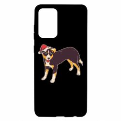 Чехол для Samsung A72 5G Dog in christmas hat