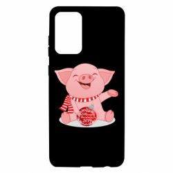 Чохол для Samsung A72 5G Funny pig with a Christmas toy