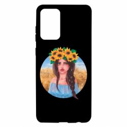 Чехол для Samsung A72 5G Girl in a wreath of sunflowers
