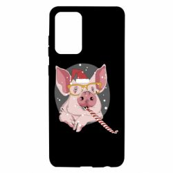 Чохол для Samsung A72 5G Portrait of the pink Pig in a red Santa's cap