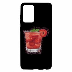 Чохол для Samsung A72 5G Strawberry cocktail on a background of flowers