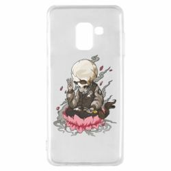 Чехол для Samsung A8 2018 A skeleton sitting on a lotus