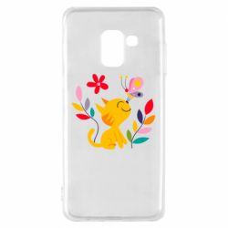 Чехол для Samsung A8 2018 Cat, Flowers and Butterfly