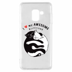 Чехол для Samsung A8 2018 Cats with red heart