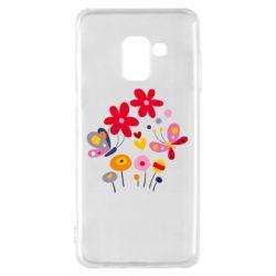 Чехол для Samsung A8 2018 Flowers and Butterflies