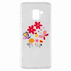 Чехол для Samsung A8+ 2018 Flowers and Butterflies