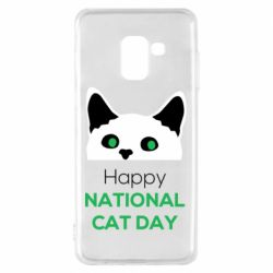 Чехол для Samsung A8 2018 Happy National Cat Day