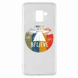 Чехол для Samsung A8+ 2018 I want to believe text