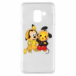 Чехол для Samsung A8 2018 Mickey and Pikachu