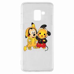 Чехол для Samsung A8+ 2018 Mickey and Pikachu