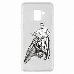 Чехол для Samsung A8+ 2018 Mickey Rourke and the motorcycle