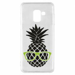 Чехол для Samsung A8 2018 Pineapple with glasses