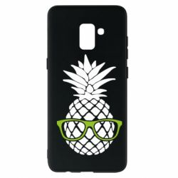 Чехол для Samsung A8+ 2018 Pineapple with glasses