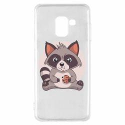 Чохол для Samsung A8 2018 Raccoon with cookies