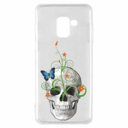 Чехол для Samsung A8 2018 Skull and green flower