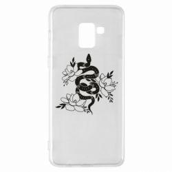 Чохол для Samsung A8+ 2018 Snake with flowers