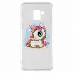 Чохол для Samsung A8+ 2018 Unicorn with flowers