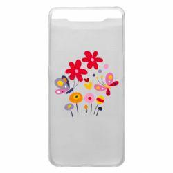 Чехол для Samsung A80 Flowers and Butterflies