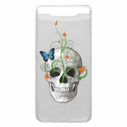 Чехол для Samsung A80 Skull and green flower