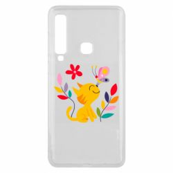 Чехол для Samsung A9 2018 Cat, Flowers and Butterfly