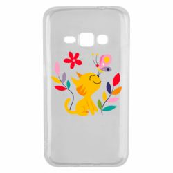Чехол для Samsung J1 2016 Cat, Flowers and Butterfly