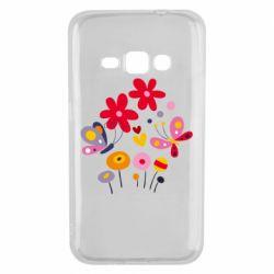 Чехол для Samsung J1 2016 Flowers and Butterflies