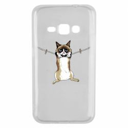 Чехол для Samsung J1 2016 Grumpy Cat On The Rope