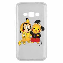 Чехол для Samsung J1 2016 Mickey and Pikachu