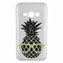 Чехол для Samsung J1 2016 Pineapple with glasses