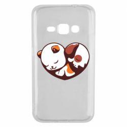 Чохол для Samsung J1 2016 Сердечко. Котик и собачка