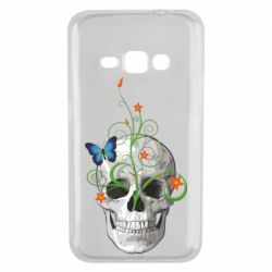 Чехол для Samsung J1 2016 Skull and green flower
