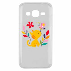 Чехол для Samsung J2 2015 Cat, Flowers and Butterfly