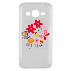 Чехол для Samsung J2 2015 Flowers and Butterflies