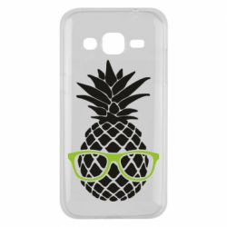 Чехол для Samsung J2 2015 Pineapple with glasses