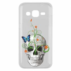 Чехол для Samsung J2 2015 Skull and green flower