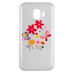 Чехол для Samsung J2 2018 Flowers and Butterflies