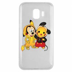 Чехол для Samsung J2 2018 Mickey and Pikachu