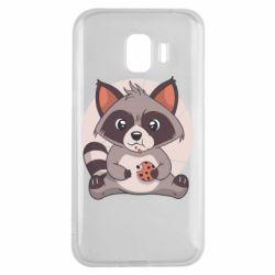 Чохол для Samsung J2 2018 Raccoon with cookies