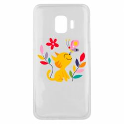 Чехол для Samsung J2 Core Cat, Flowers and Butterfly
