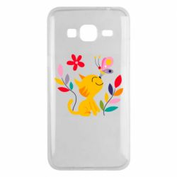 Чехол для Samsung J3 2016 Cat, Flowers and Butterfly