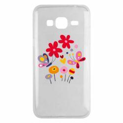 Чехол для Samsung J3 2016 Flowers and Butterflies