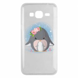 Чехол для Samsung J3 2016 Two cute penguins